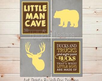 Hunting theme nursery Boy decor Yellow gray kids room Ducks and Trucks Little Man Cave Deer antler art Toddler Boy Woodland Bear art #1595
