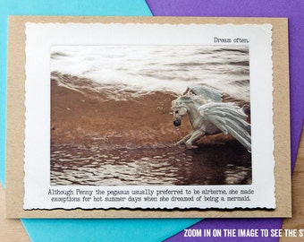 Blank Pegasus Greeting Card• Witty Greeting Card • Funny Card • Animal Tales Card • Gift for Horse Lover • Gift Under 5 • Dreamers Card