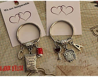 Sale - Set of 2 Chips Cola and Sandwich Keychains Best Friends Keychain His and Hers Couple Keychains Valentine's Keychains