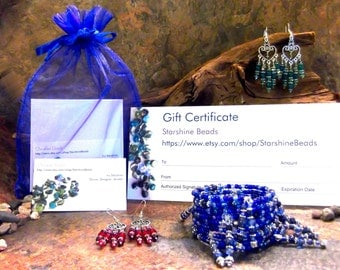 Gift Certificate - Jewelry, Gift Certificates, Gifts, Pendulums, Valentines Day Gifts, Earrings, Necklaces, Gift Ideas, Gifts for Her