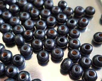 50 small Black Wood Beads Colorful Necklace Beads Kids Wooden Jewelry Supply Round Girls Fun Neon Bright Color Beads (Code B0001)