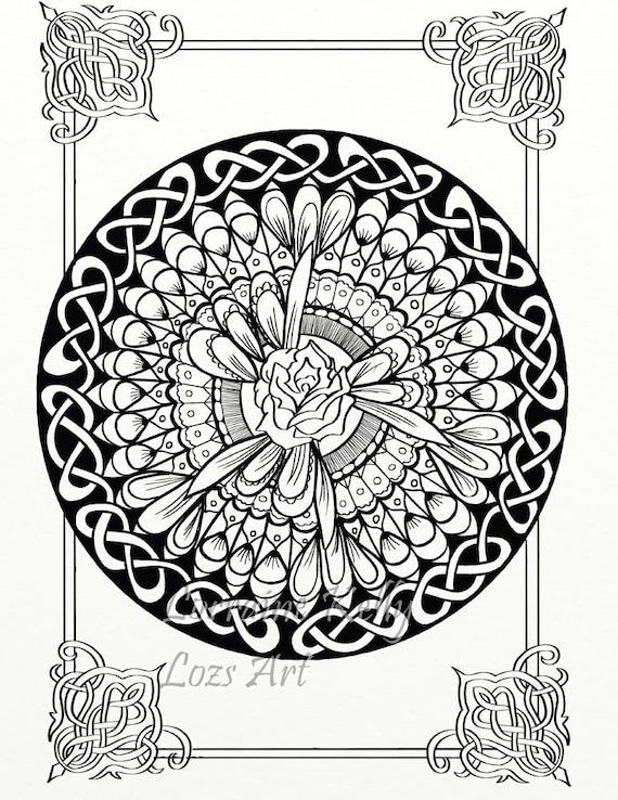 5 X Celtic Knots Mandala Adult Coloring Pages Instant PDF