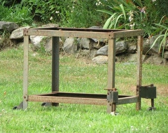 Old Rusty Rolling Industrial Cart Frame