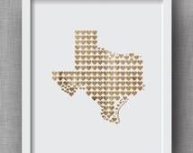 Texas Art Print, Texas Hearts with Faux Wood Finish - Texas Hearts, Texas Wood