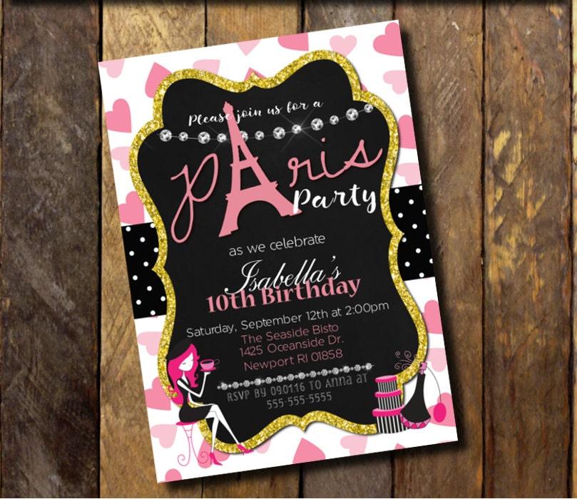 Paris invitationparis birthday invitationparis themed - Salon des seniors paris invitation ...