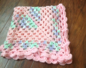 Handmade Baby Blanket, Crochet Baby Blanket, Pink Baby Blanket, Infant Blanket, Pastel Baby Blanket, Granny Squares, 26 x 26, VHIS Team