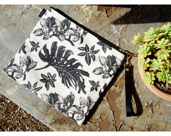 LARGE FOLDABLE CLUTCH // Tropical pattern screenprinted on canvas fabric