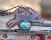 Sterling Leaping Rabbit Necklace . Navajo Stamp . Old Turquoise . Mixed Metals . Rustic . Earthy . Boho .