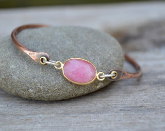 Sterling Copper Bangle. Pink GemStone . Stacking Bracelet . Sterling Silver . Cold Connections . Rustic . Earthy . Boho .