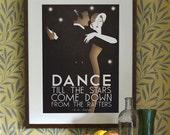 Original Design A3 A2 A1 Art Deco Bauhaus Poster Print, Vintage Dance Tango Themed, w.h.auden Quote