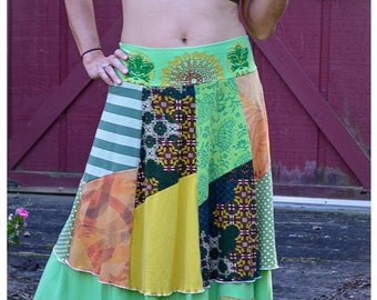 Autumm Goddess~~ Recycled/Upcycled Layered Skirt-Size~med
