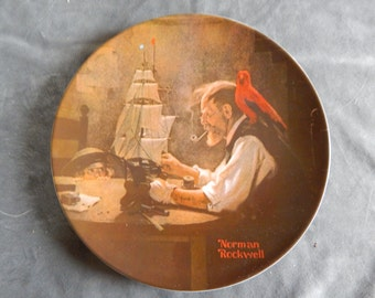 """Vintage Knowles Norman Rockwell Collectors plate """"The Ship Builder"""" 1980"""
