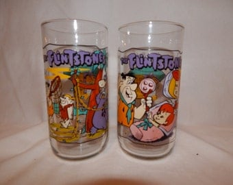 Vintage 1960's Flintstone by Hanna Barbera Cartoon Pizza Hut Advertisement set of 2