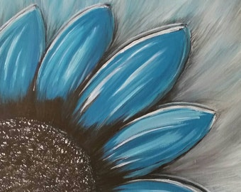 Blue flower painting abstract acrylic on canvas, 12x12