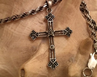Sale ....34.99.......from 59.00 large  goth sterling silver cross and sterling silver chain