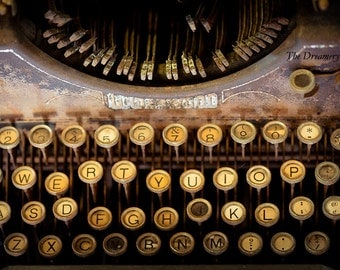 Vintage typewriter print underwood photography antique gifts for writers nostalgia office art journalists rustic art modern fine art