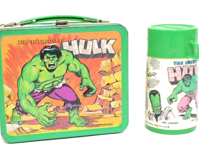 Vintage 70s The Incredible Hulk Marvel Comics Metal Lunch Box with Thermos