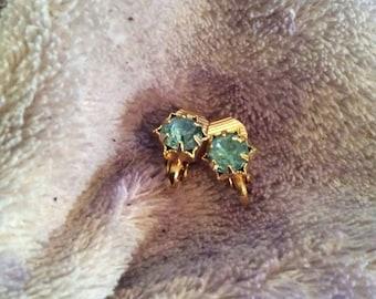 Gold tone clip on earrings 1/4 in