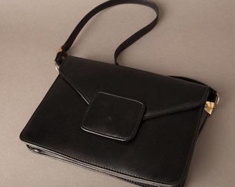 Vintage Black Leather Envelope Shoulder Purse | Handbag