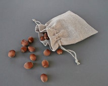 Natural fabric favor bags Drawstring packaging pouches Small linen sachet bags with square corners 12 cm x 15 cm
