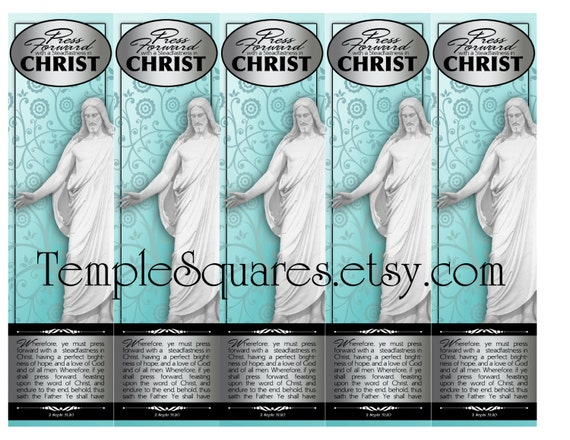 """PRINTABLES Bookmarks YW Young Women Mutual 2016 Theme Tree of Life Style """"Press Forward with a Steadfastness in Christ"""" 2 sizes"""