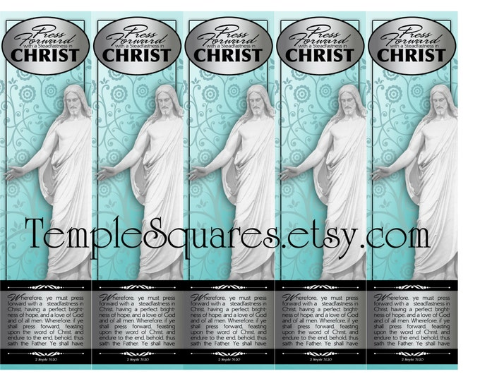 "PRINTABLE Bookmarks YW Young Women Mutual  ""Press Forward with a Steadfastness in Christ"" 2 sizes"