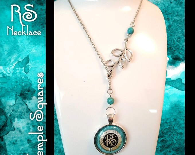 Symbolic RS Necklace for LDS Women. Charms representing Laurel and Relief Society, Silver with Turquoise Beads Jewelry Gift missionary gifts