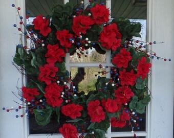 Red Geranium Twig Wreath