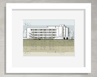 London Architectural Print - Isokon Building