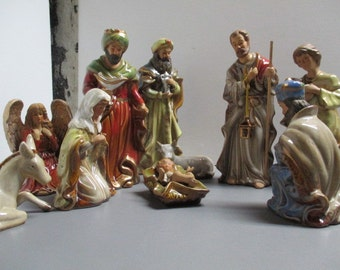 Nativity scene / vintage nativity set / 10 pc porcelain nativity scene / bright colorful nativity / Christmas story / Jesus / Mary / Joseph