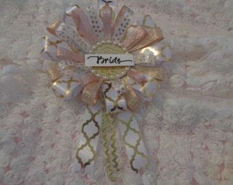 Large Bridal Badge Blush Pink Gold White Corsage Pearls Ready To Ship