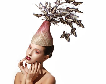 Made to order- Butterfly Swarm Fascinator, Silk and PVC Headpiece