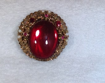 Vintage Red Brooch