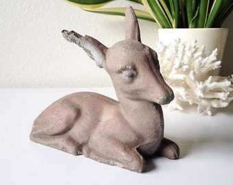 Vintage concrete deer statue small cement baby animal fawn garden statuary stone woodland bambi lawn ornament