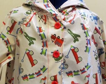 Rain-wear, Boys Raincoat, Laminated Cotton Fabric, Transport Theme