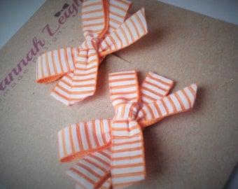 Orange white stripes ribbon bow grosgrain girls hairclips