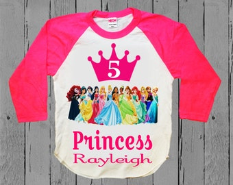 Disney Princess Birthday Shirt - Disney Princess Shirt with Elsa and Anna - Raglan available