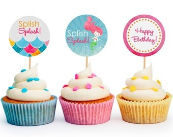 Mermaid / Splash Party Favor Tags or Cupcake Toppers