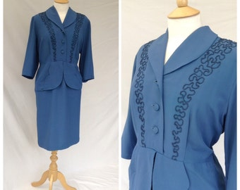 1940s Dress, Smart, Formal, Peplum, Deep Sky Blue, WW2, UK size 14, US size 12.