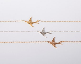 Fine Necklace Swallow Bird Necklace Choose Your Colour Gold Silver Or Rose Gold Birdy Necklace Anchor