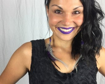 Purple Peace Feather Earrings