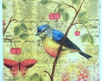 Four (4) Bluebird Cherry Tree Botanical Paper Napkins, Virgin Wood Blue Bird Napkins for Decoupage and Mixed Media Art