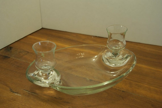 Vintage candle holder clear glass centerpiece by