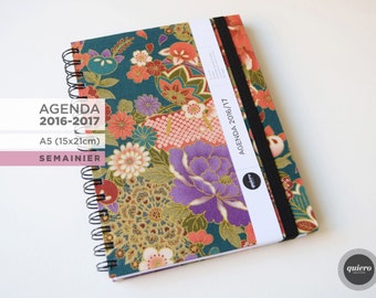 Agenda A5 - 2016-2017 - Japanese flowers and green-15x21cm