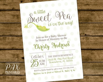 Baby Shower Sweet Pea Invitation - Printable Pea Pod Invites, Baby Shower, Gender reveal -  Perfect for twins or triplets - ANY EVENT