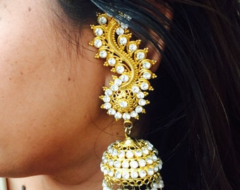 indian Bollywood earrings junks,gold pearl dangle drop Indian wedding jumka,Bollywood earrings,jumkas