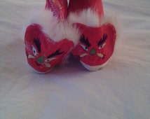 """NEW ITEM!  Vintage, infant """"dragon"""" slippers.  Never worn. Chinese, embroidered satin with fur trim and embroidered Dragon fronts."""
