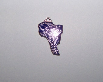 Vintage SOUTH AMERICA  Sterling  and Enamel  -- Continent Charm --
