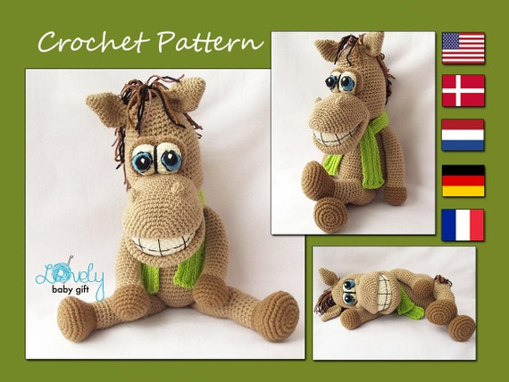 Amigurumi Stuffed Animals Patterns : Amigurumi Pattern Horse Crochet Pattern Stuffed Animal Toy
