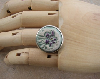 Flower EO Diffuser Ring, Essential Oil Ring, Perfume Ring, Ceramic Ring, Aromatherapy Jewelry